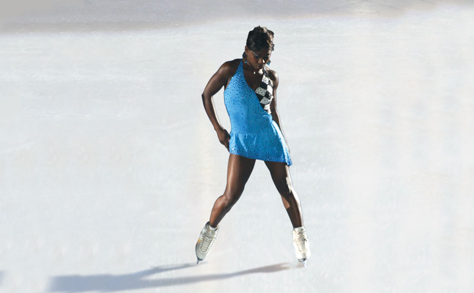Figure skater, Surya Bonaly, on the Xtraice synthetic ice