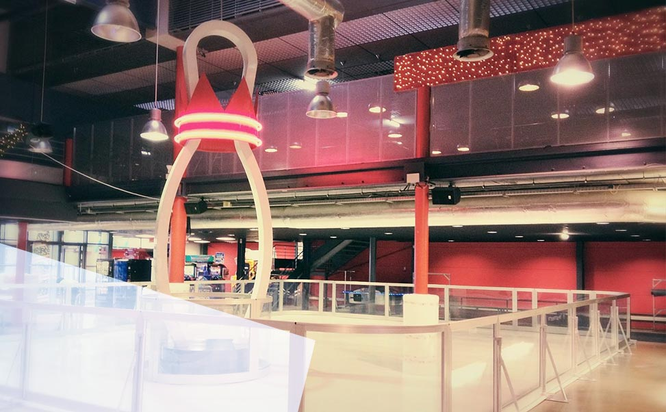 Ice rink in bowling alley