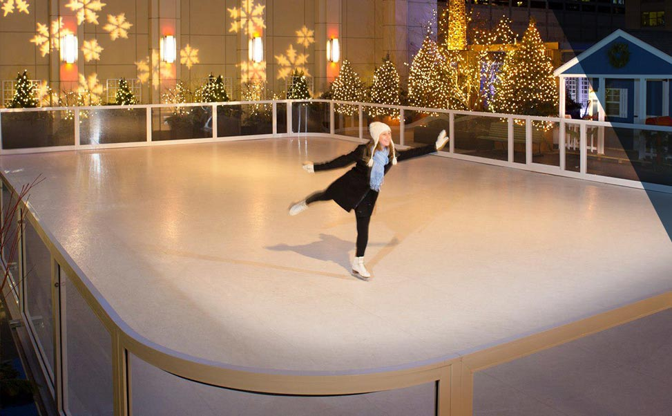 Synthetic ice skating rinks for hotels