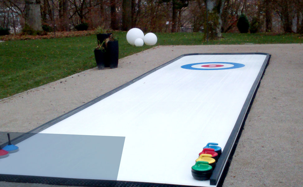 Synthetic ice for curling